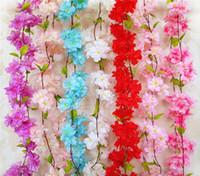 220 cm Sakura Cherry Rota Arco de la boda de la decoración de la vid flores artificiales decoración del partido de seda de la hiedra de la pared colgando guirnalda guirnalda GA303