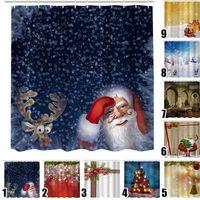 Nouvelle hiver Chirstmas haute qualité rideau de douche de Noël en tissu imperméable à l'eau Salle de bain Père Noël Décor Accueil Nouvel An 12 crochets cadeau
