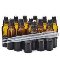 Новый 10 мл Янтарный стеклянный рулон на бутылках с роликовым шаром из нержавеющей стали черная крышка крышка для духов эфирное масло ароматерапия