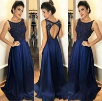 Navy Blue A- Line Evening Dresses Sleeveless Lace Appliques B...