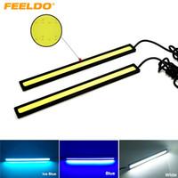 FEELDO 2 adet / takım Beyaz 17 cm Alüminyum Konut 6 W Araba COB LED Gündüz Çalışan Işık DRL Sürüş Lambası # 4223