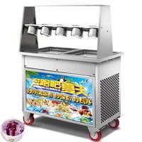 BEIJAMEI duplo compressor quadrado pan 35 cm tailândia frito máquina de sorvete máquina de fazer rolo de sorvete elétrico