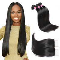 8A Mink Hair Virgin Peruvian Straight Hair 4 Bundles With Cl...