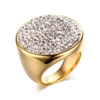 Mulheres De Aço Inoxidável Enorme Abobadado Rodada Branco CZ Strass Cristal Anel, Banhado A ouro EUA tamanho 6-9