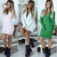 2018 new sexy wrapped chest print dress long sleeve seaside ...