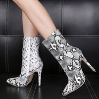 sexy high heels animal prints snake grain pointed toe ankle ...