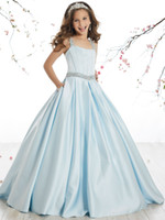 Princess Baby Blue Satin Straps Beads Flower Girl Dresses Gi...