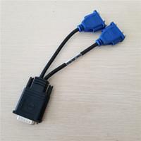 الأصلية المستخدمة موليكس DMS-59 DMS59 59Pin DVI ذكر إلى 2-ميناء VGA أنثى فيديو Y الفاصل SHORT كابل 1 قطعة إلى 2 مراقب