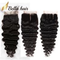 بيلا HAIR® 8A 8 ~ 26in إغلاق البرازيلي موجة عميقة HD قبل التقطه العذراء الشعر الطبيعي المتموج الأعلى الدانتيل