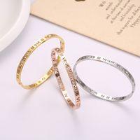 Romen rakamları içi boş paslanmaz çelik bilezik moda 18 K gül altın elmas bilezik titanyum çelik hollow bayanlar bilezik