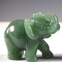 2,2 PULGADAS Green Aventurine Jade Stone Craving Lucky elefante estatua de Feng Shui