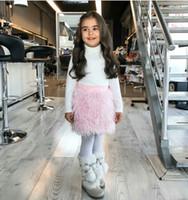 2018 Yeni Sonbahar Kış Bebek Kız Tutu Etekler INS Pembe Faux Kürk Etek Çocuk Moda Parti Prenses Etek Giyim Çocuk Giysileri