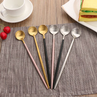New rose gold stainless steel long handle spoon Ice Cream Te...
