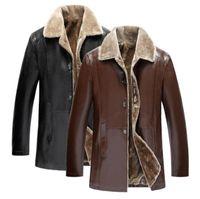PU جلد الرجال معاطف وجاكيتات ثخن خارجية PU معاطف البشر الملابس القمم متوسط طويل معاطف الشتاء السائق الستر