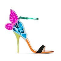 Moda colores mezclados espejo mariposa tacón mujeres sandalias de punta abierta estilete zapatos de verano alas angulares tobillo hebilla correa Sandalia Feminina