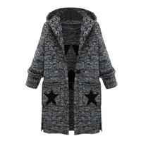 Kadın Kapşonlu Ceketler Kadın Moda Gevşek Rahat Saf Renk Uzun Kollu Kış Sıcak Uzun Ceket Ince Hırka Ceketler Famale
