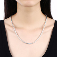 Fashion Jewelry 100% Stainless Steel Necklace Round Snake Chain Fit Pandora Factory Price 3 mm 18-28 Inches