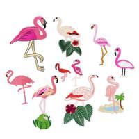 10 STÜCKE Heißer Verkauf Flamingo Patches für Kleidung Eisen auf Transfer Applique Mode Patches für Jeans Taschen DIY Nähen auf Stickerei aufkleber