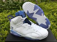 07762ea1f15612 Nova moda VI 6 azul branco de fibra de carbono Sapatos de Basquete  Desenhador dos homens