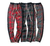 망 레트로 격자 무늬 스코틀랜드 패턴 바지 높은 거리 힙합 캐주얼 느슨한 긴 바지 남성 탄성 허리 지퍼 바지