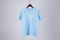 New Summer Street Wear Europe Paris Moda Homens Alta Qualidade Céu Azul Big Broken Hole Algodão Tshirt Casual Mulheres T-shirt