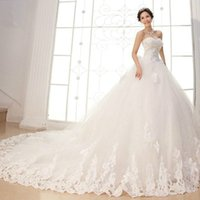 2017 Luxury Crystal Lace Ball Gown Wedding Dresses With Appl...