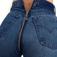 Spring New Women Back Zipper Design Jeans Denim Blue Pencil ...