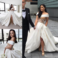 Sexy Satin Side Split Wedding Dresses Off Shoulder Lace Appl...