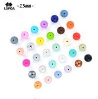 100 peças / lote contas de Silicone bebê dentição Beads 15 mm seguro grau alimentício mastigação Rodada Silicone Beads