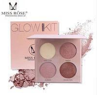 Bayan Gül 4 Renkler Makyaj Vurgulayıcı Paleti Şekillendirici Doğal Yüz Kadifemesi Vurgulamak Yüz Kapatıcı Göz Farı Makyajı