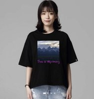 Hot Ins Magliette Donna YE Moda Tees Estate Black White Snow Mountain QUESTO È WYOMING