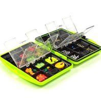 100 Pçs / caixa Fly Fishing Acessórios Caixa com Anzóis Flutuar Chumbo Chumbada Conector Beads Pesqueiro Venda Quente