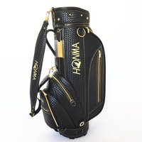 black HONMA Golf Bag men Golf Caddy Bag high grade PU Leathe...