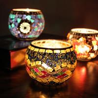 Mosaico de Vidro Castiçal Continental Retro Decoração Presentes Burning Bar Candle Cup Vela Titular Acessórios Para Casa Presentes de Natal