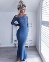 섹시한 해군 파란색 오프 어깨 아프리카 신부 들러리 드레스 레이스 긴 소매 인어 웨딩 게스트 드레스 레이스 하녀 명예 싼 칵테일 가운