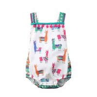 INS Neugeborenes Baby Cute Alpaca Unicron Print Sommer Strampler Säuglingsmode Backless Overall Kinder Baumwolle Quaste Ein Stück Nette Outfits