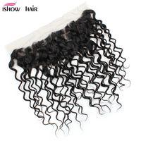 Fashion Frontal Lace Closure Brasiliani peruviani malesi indiani capelli vergini onda d'acqua Parte libera capelli vergini non trasformati Colore marrone medio