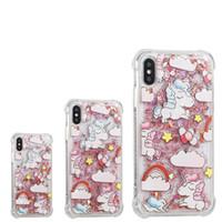 Unicorn Kılıfları arka kapak telefon kılıfı Için iPhone X 8 7 6 6 s artı Samsung s8 not 8 Glitter Bling Cep Telefonu Kılıfları