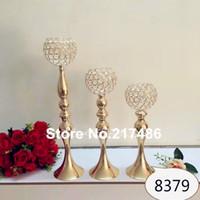 Uzun boylu Trompet cam kristal Vazolar Düğün Centerpieces dekor için standı