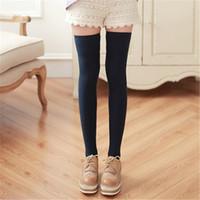 Las mujeres de moda de invierno calcetín de algodón caliente pierna lencería medias muslo hasta la rodilla calcetines Lady Maid Multicolor venta al por mayor medias
