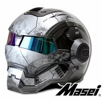 Gris brillante / mate MASEI IRONMAN Iron Man casco motocicleta retro medio casco casco abierto 610 ABS casque motocross
