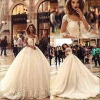 2018 Elegant Half Long Sleeves Ball Gown Wedding Dresses She...