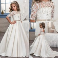 2018 Cute Princess Half Sleeve Holy Lace White Communion Dre...