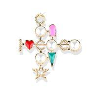 Женщины Cross Письма Брошь Жемчужина Простое Стиль Сердце Костюм Отворотный Pin Подарок Для Любви Мода Ювелирные Изделия Аксессуары