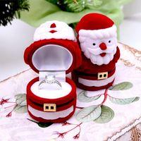 Mignon rouge santa claus boîte à bijoux cadeau de noël anneau boucle d'oreille oreille goujon bijoux coffret boîte de velours bijoux