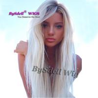 Nueva llegada Sexy Lady Long Natural recta peluca de pelo rubio platino Peluca sintética del frente del cordón con raíces oscuras para mujeres blancas