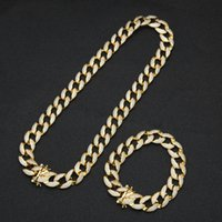 Mens Hip Hop Bling Jewelry Set Miami Cuban Link Chains Necklace Bracelet Iced Out Rock Ropper Punk Chain 1.5cm High Quality Full Copper Gold Silver