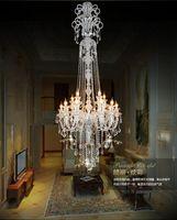 Большая лестница длинная роскошная хрустальная люстра Современная K9 LOBBY LOTRES DE CRISTAL Свеча