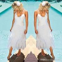 Старинные чаепития на открытом воздухе пляжные праздничные свадебные платья 2018 кружева шифон холтер короткое свадебное платье свадебного приема храм