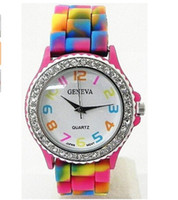 femme montres marque de luxe mode causale Genève Rainbow Crystal Rhinestone Montre Silicone Jelly Link Nouveau best-seller Band